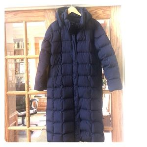 Land's End Blue Hooded Goose Down/Feather Coat